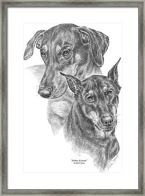 Dober-friends - Doberman Pinscher Dogs Portrait Framed Print by Kelli Swan