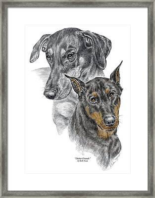 Framed Print featuring the drawing Dober-friends - Doberman Pinscher Portrait Color Tinted by Kelli Swan