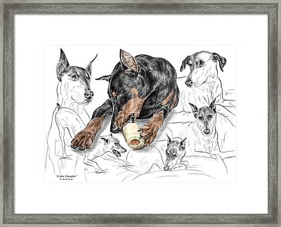 Dober-thoughts - Doberman Pinscher Montage Print Color Tinted Framed Print by Kelli Swan