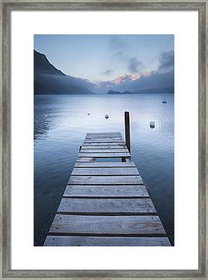 Dock And Buoys, Lake Sils, Engadin, Switzerland Framed Print by F. Lukasseck