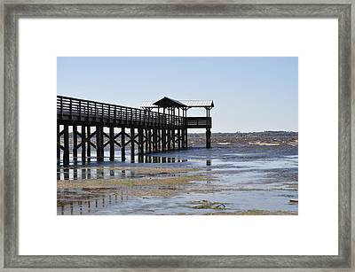 Dock At Low Tide Framed Print by Tiffney Heaning