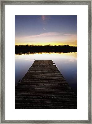 Dock At Sunset Framed Print by Gareth McCormack