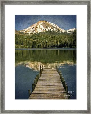 Dock On Mountain Lake Framed Print by Jill Battaglia