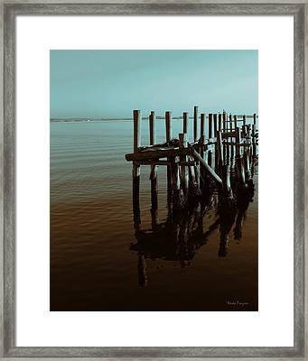 Dock Reflections Framed Print by Nada Frazier