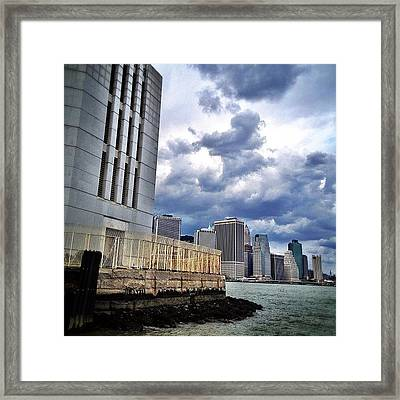 Dock View Of Nyc Framed Print