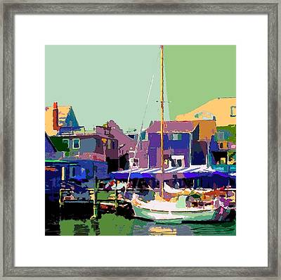 Docking Only In Woodshole Framed Print by Donna Aloia