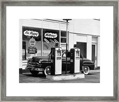 Dodge In Service Station Framed Print by George Marks