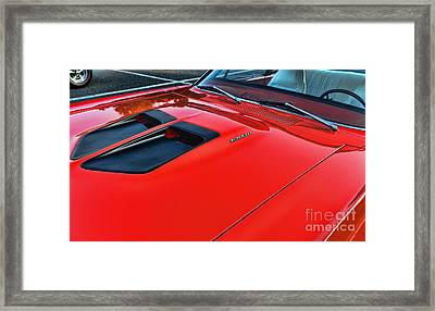Dodge Super Bee Hood  In Red Framed Print by Paul Ward