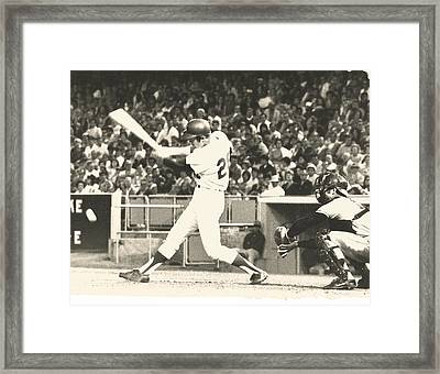 Dodger Wes Parker Batting At Dodger Stadium Framed Print