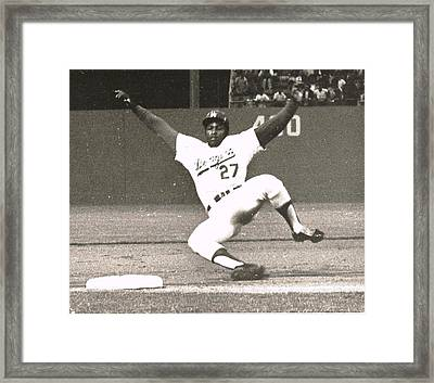 Dodger Willie Crawford Sliding Into Third Framed Print