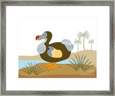 Dodo Bird Raphus Cucullatus Retro Framed Print