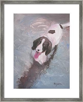 Dog In River Framed Print