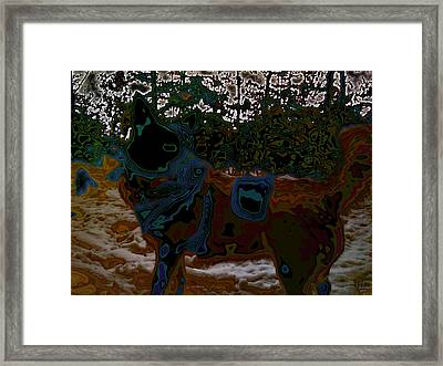 dog in snow - not by Hundertwasser II Framed Print by Nafets Nuarb