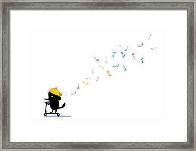 Dog Riding Scooter And Singing Framed Print