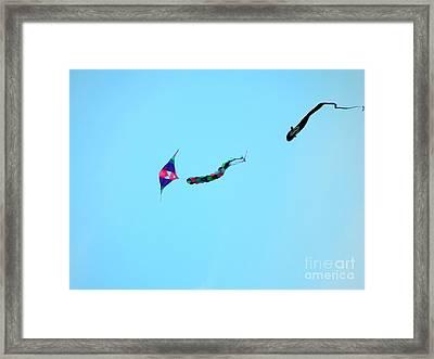 Dogfighting Kites Framed Print