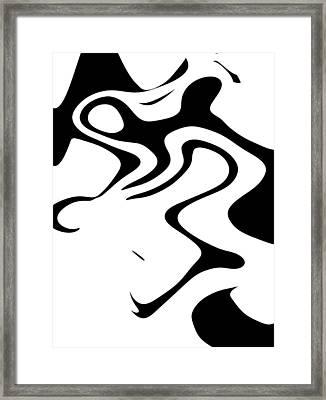 Doggy Style Black On White Framed Print by Steve K