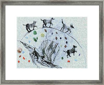 Dogs In The Field Framed Print by Odon Czintos
