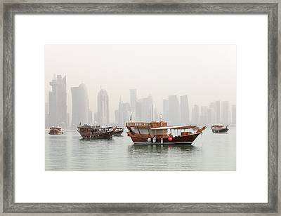 Doha In The Mist Framed Print