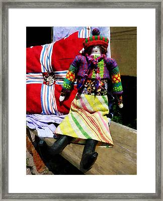 Doll In Colorful Outfit Framed Print by Susan Savad