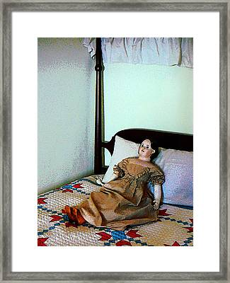 Doll On Four Poster Bed Framed Print by Susan Savad