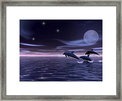 Dolphin Moon. Framed Print by Walter Colvin