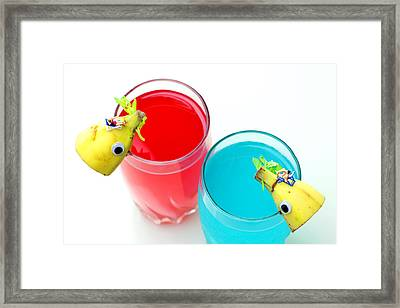 Dolphin Surfing In Colorful Sea Framed Print by Paul Ge