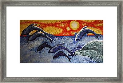 Dolphins In The Sun Framed Print