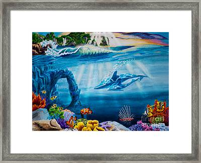 Dolphins - Mother And Daughter  Framed Print