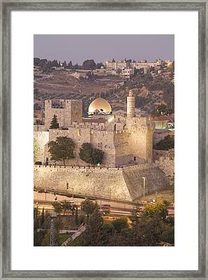 Dome Of The Rock With Tower Of David Framed Print by Richard Nowitz