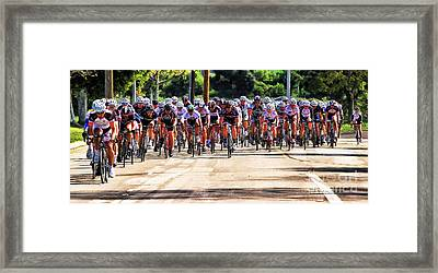 Dominguez Hill Cycle Race Framed Print by Clare VanderVeen