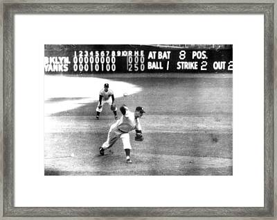 Don Larsen Of The Ny Yankees Pitches Framed Print by Everett