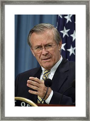 Donald H. Rumsfeld Secretary Of Defense Framed Print by Everett