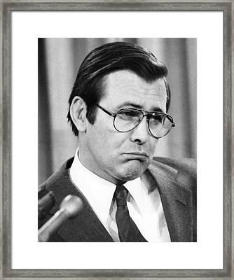 Donald Rumsfeld, During Press Framed Print