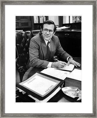 Donald Rumsfeld, Working In His Office Framed Print