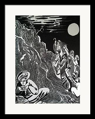 Bible Madman Black White Moon Drawings Framed Prints