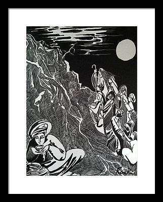 Bible Madman Black White Moon Framed Prints