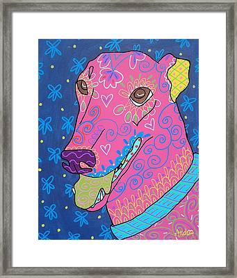 Doodle Greyhound Framed Print by Audra Sampson