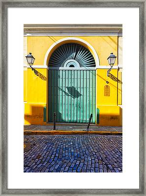 Door And Cobblestone Street In Old San Juan Framed Print by George Oze