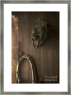 Door Knocker Of The Basilica Saint-julien. Brioude. Haute Loire. Auvergne. France. Framed Print