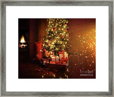 Door Opening Onto Nostalgic Christmas Scene   Framed Print
