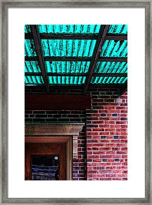 Door With Green Overhang Framed Print