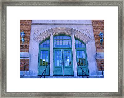 Doors To Old High School  Framed Print