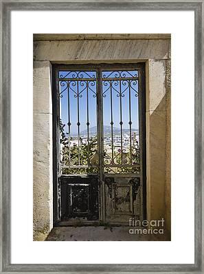 Doorway To Santorini Framed Print by Dennis Hedberg