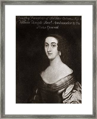 Dorothy Osborne, English Letter Writer Framed Print by Middle Temple Library