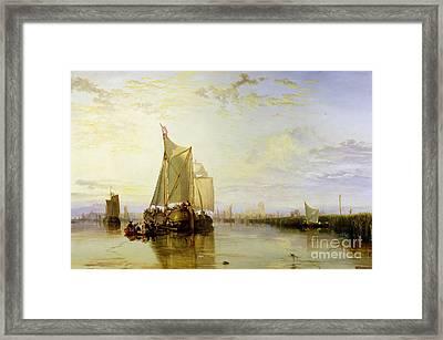Dort Or Dordrecht - The Dort Packet-boat From Rotterdam Becalmed Framed Print by Joseph Mallord William Turner