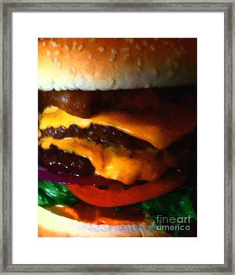 Double Cheeseburger With Bacon - Painterly Framed Print by Wingsdomain Art and Photography