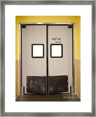Double Doors To A Staff Area Framed Print