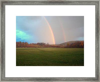 Double Rainbow In The Valley Framed Print by Mark Haley