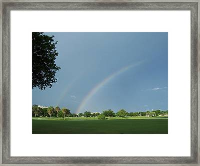 Framed Print featuring the photograph Double Rainbow by Sheila Silverstein