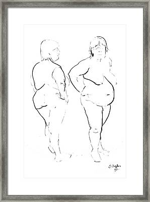 Double Standing Female Nude Framed Print by Joanne Claxton